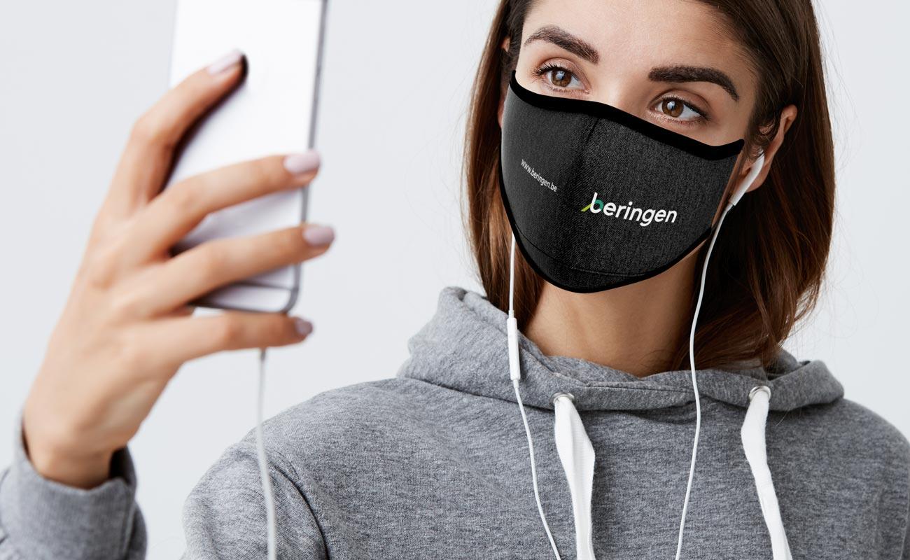 Denim - Mundschutzmaske mit Logo